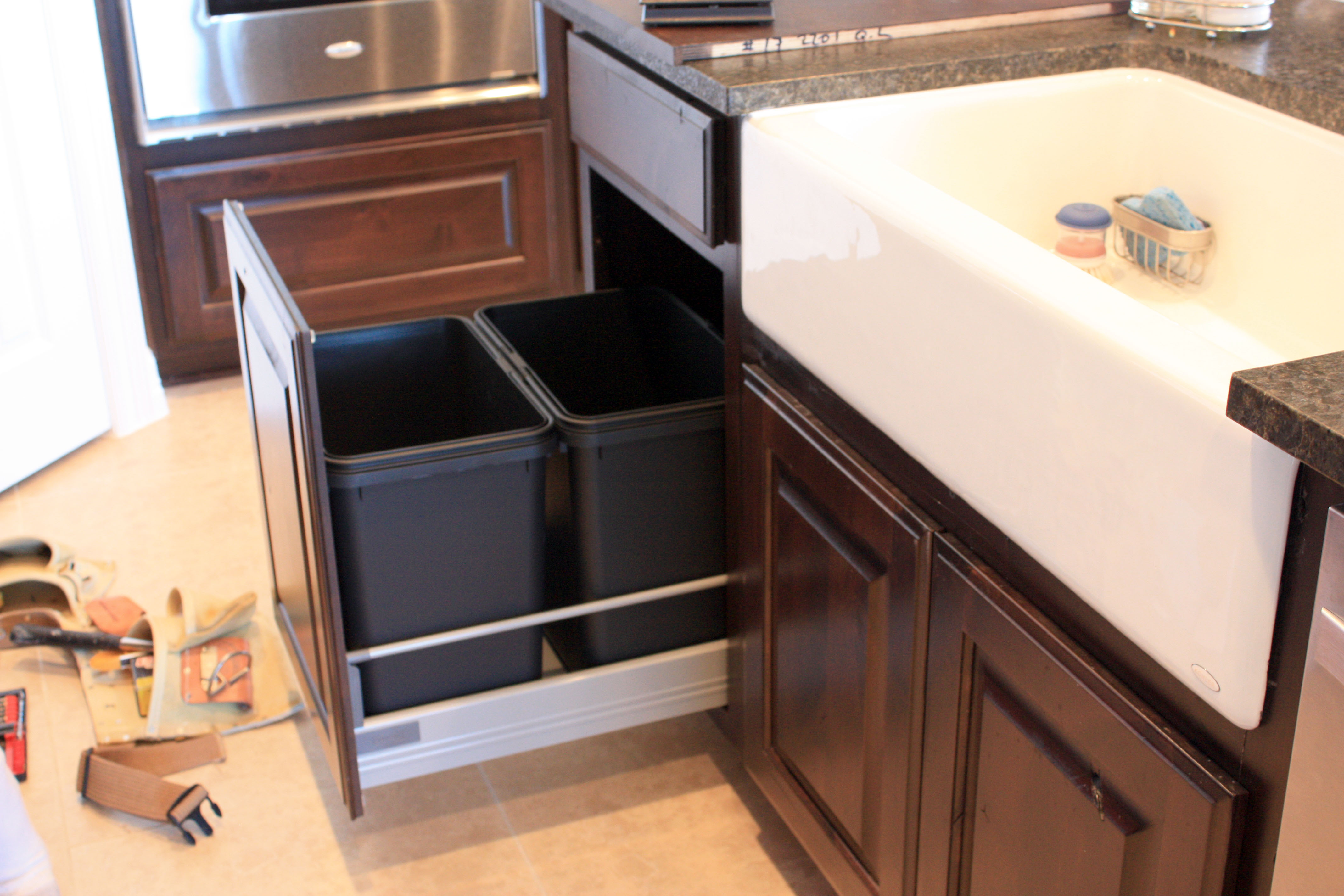 trend ideas best with uncategorized and drawer under out garbage of drawers sink for pict can sliding lid decoration trash slides the pull